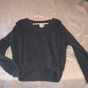PINK grey vneck sweater